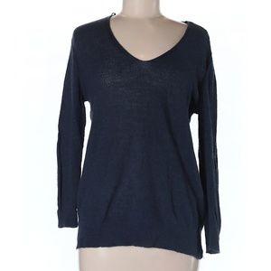 Zara Knit Medium Navy-Blue Pullover V-Neck Sweater